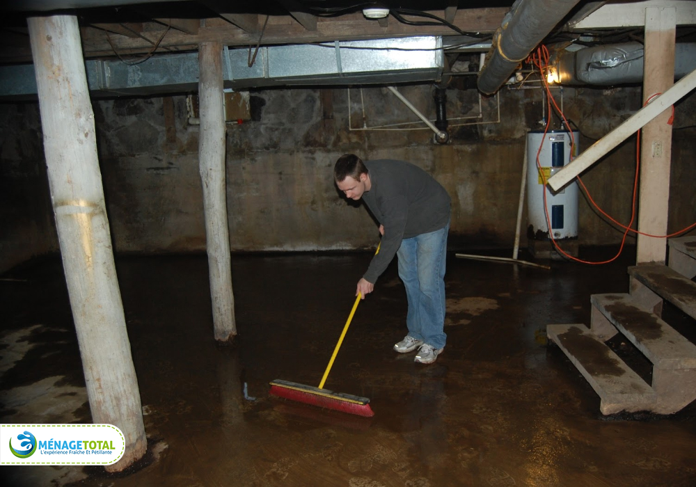 sweeping basement cleaning